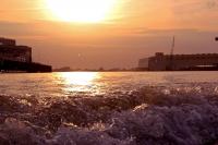 Sonnenuntergang auf der Weser