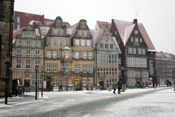 Marktplatz bei Schnee