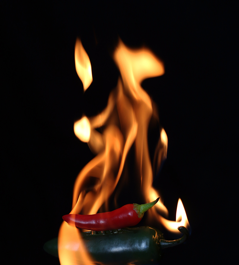 Grün rote Feuer Chili