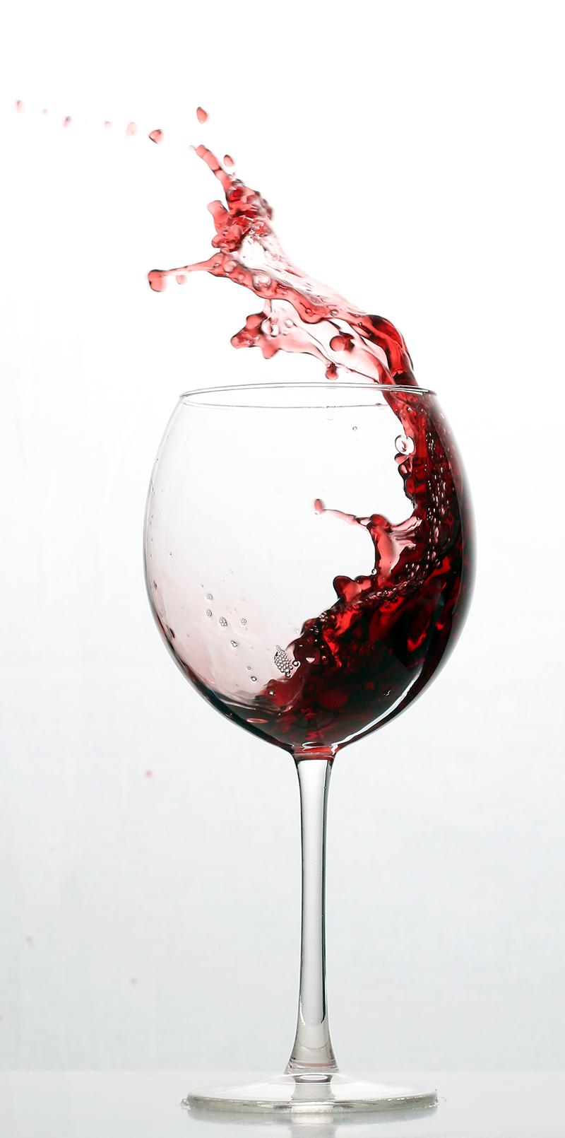 Weinglas-Spritzer