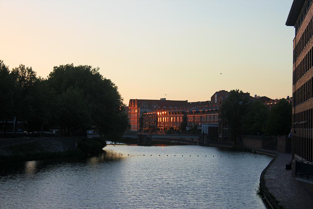 Kleine Weser abendsonne