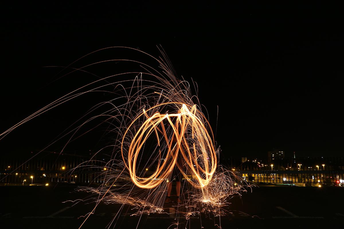 Lichteffekt Stahlwolle