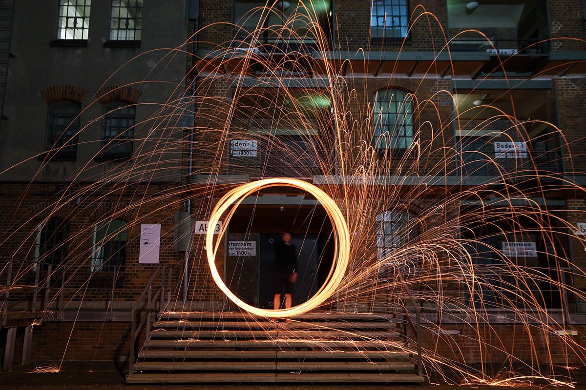 Lichteffekt it Stahlwolle