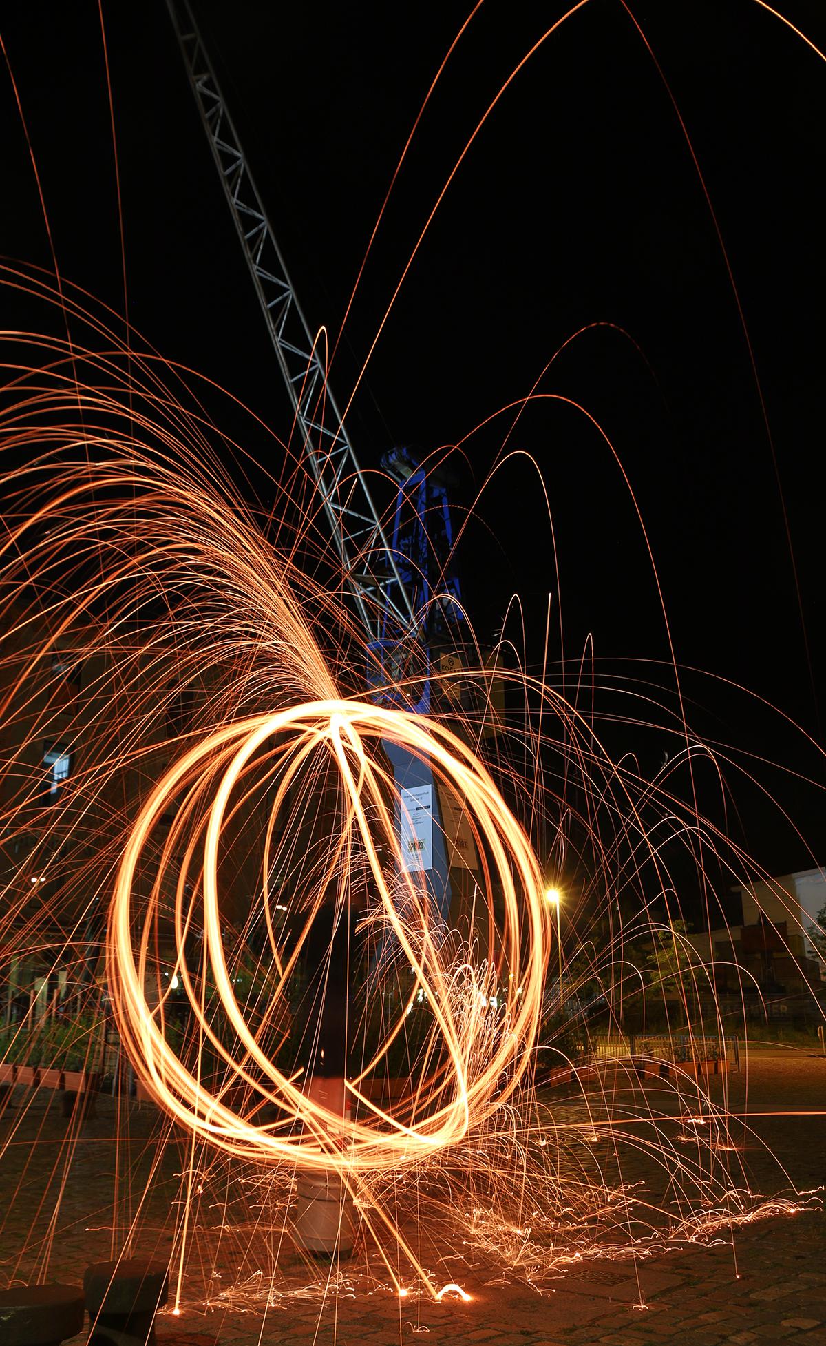 Stahlwolle Lichtexperiment