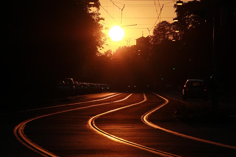 Sonnenuntergang Schienen