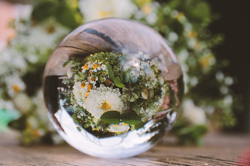 Glaskugel Brautstrauß